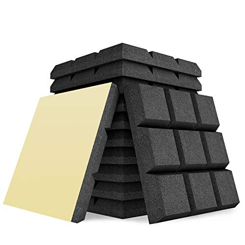 AIKEI 12 Pack Acoustic Foam Adhesive Panels 2' X 12' X 12' Sound Proof Foam Panels for Sound...