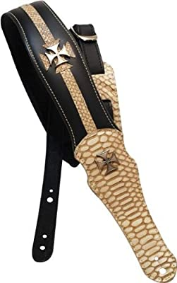 Leather Iron Cross Guitar Strap
