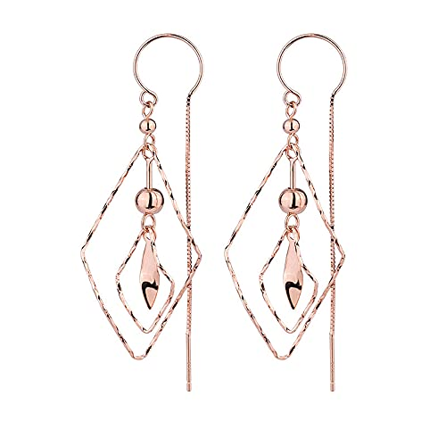 AZPINGPAN Pendiente Irregular de Plata esterlina S925 en Forma de Diamante, versión Coreana de Temperamento Largo del Tipo de Oreja Colgante Hebilla de Oreja Anti-perdida Simple