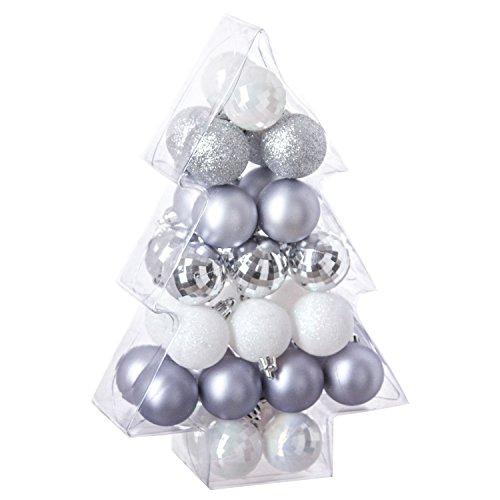 Féérie Lights & Christmas Kit déco pour Sapin de Noël - 34 Pièces - Argent, Blanc et Gris