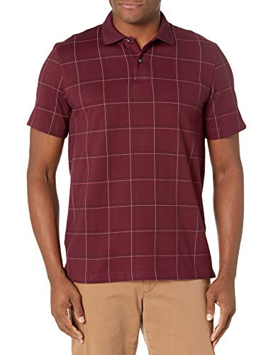 Van Heusen Men's Flex Short Sleeve Stretch Windowpane Polo Shirt, Deep Oxblood, Large