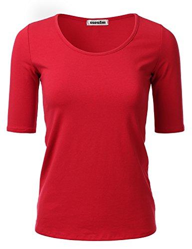 SSOULM Women's 1/2 Sleeve Scoopneck Cotton Basic Slim Fit T-Shirt Top RED M