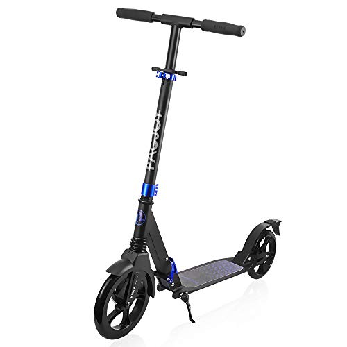 PACJOY Adult Big Wheel Kick Scooter-230mm Big PU Wheel, 220lb Weight Limit, Wide Reinforced Deck, Height Adjustable with Deluxe Aluminum, Easy Folding, Smooth & Fast Ride for 12 Year-Old up