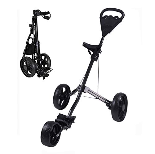 KXDLR Golf Push Cart, 3 Wheel Golf Cart Swivel One Second Folding Golf Trolley with Multifunction Scoreboard, Push Pull Golf Carts for Golf Clubs Men Women/Kids Practice and Game Golf Accessories