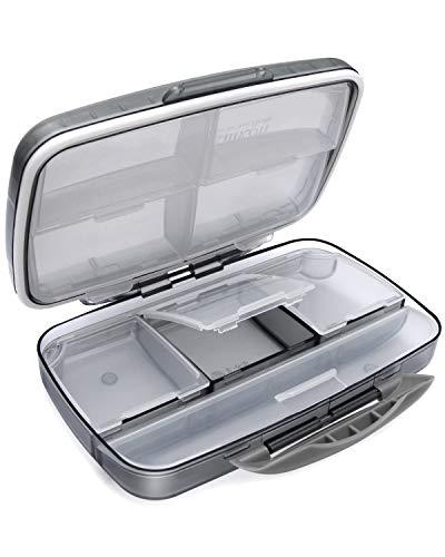Travel Pill Organizer Large Portable Moisture Proof Vitamin Case, Fullicon Oversize 8 Compartment Pill Box, Pill Holder - Airtight & Moistureproof – Grey