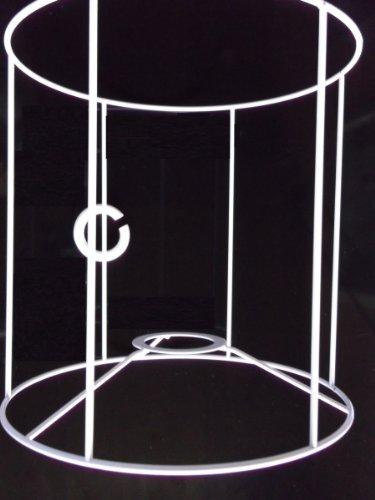 Lampenschirm-Gestell, rund, zylindrische Form, für E14 & E27, weiß, Ø 20 cm, 20 cm hoch