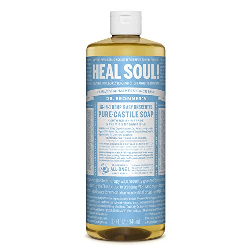 Dr. Bronner's - Pure-Castile Liquid Soap (Baby Unscented, 32 Ounce) - Made with Organic Oils, 18-in-1 Uses: Face, Hair, Laundry and Dishes, For Sensitive Skin and Babies, No Added Fragrance, Vegan