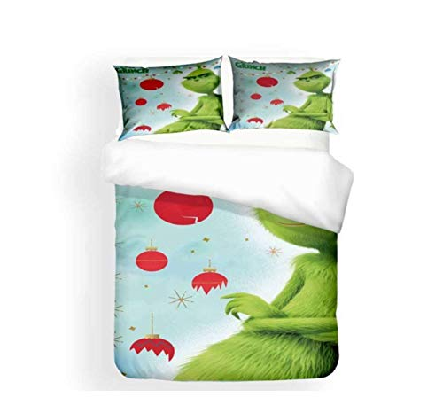 QGHZSCS Bedding Set Grinch Cartoon Animal 3D Duvet Cover Set With Pillowcase Microfibre Kids Cute Soft And Breathable Home Textiles 155X220 Cm