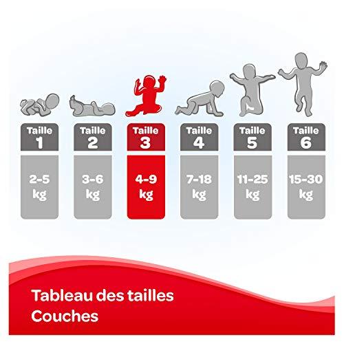 Huggies, Couches bébé Taille 3 (4-9 kg), 168 couches, Unisexe, Avec indicateur d'humidité, Pack...