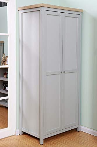 GXK Wardrobe Grey Oak 2 Door Wooden Hanging Rail Storage Shelves