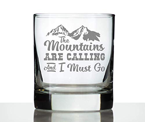 Mountains are Calling - Funny Whiskey Rocks Glass Gifts for Outdoorsy Men & Women - Fun Whisky Drinking Tumbler Décor