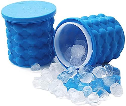 Cubo de hielo de silicona grande y molde de hielo con tapa, fabricante de cubitos de hielo de silicona Genie, fabricante portátil de cubitos de hielo de silicona (azul)