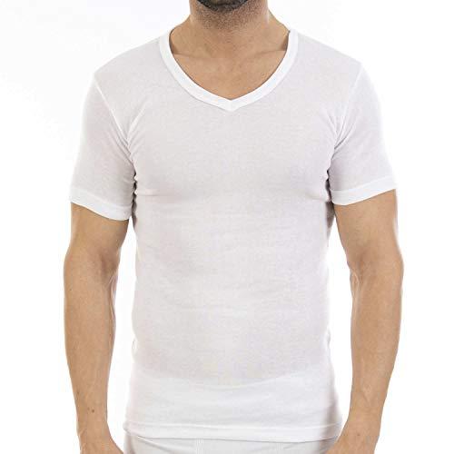 Pack Ahorro de 6 Unidades. Camiseta Interior Fina de Hombre L114V, de Manga Corta y Cuello de Pico.(S)