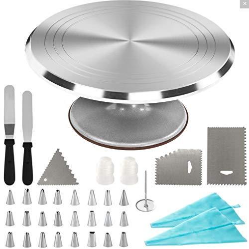 Dawoo Kit de decoración de Pasteles de 35 Piezas, con Plato Giratorio de aleación de Aluminio de 28 cm y Bolsas de pastelería Desechables, Accesorios de Modelado de espátula, etc.