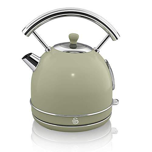 Swan Retro 1.8 Litre Dome Kettle, Green, Fast Boil, 3KW, 360 Degree Rotational Base, Stainless Steel, SK14630GN