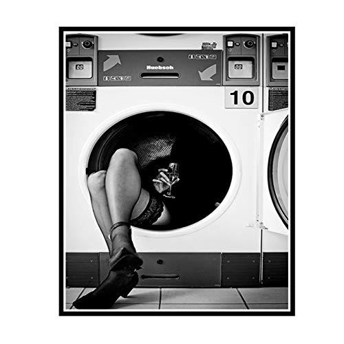 IUYTRF Cartel de moda Impresión de arte de pared Lienzo blanco y negro Pintura Perfume Mujer para sala de estar -50X75 cm Sin marco 1 Uds