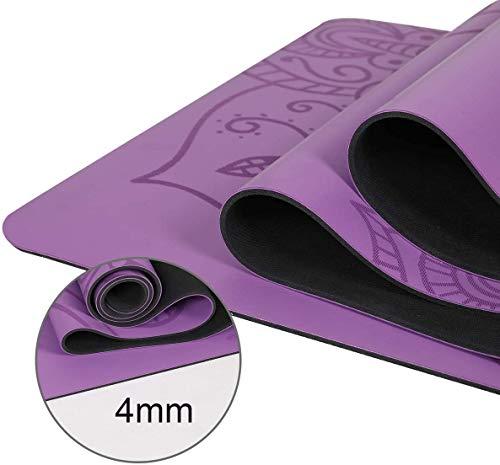 ヨガマット183*61cmヨガマットPUマンダラ初心者環境フィットネス体操用マット(Mandala,Purple)