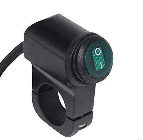 WJW-KAIGUAN, Impermeable 12V de la motocicleta 7/8' 22mm Interruptores del manillar interruptor de los faros de peligro freno Faros de Niebla ON OFF con indicador luminoso ( Color : Green button )