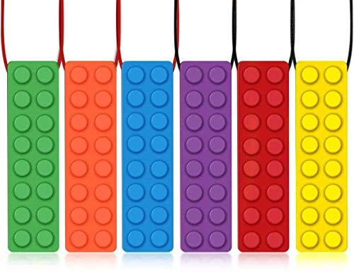 Sensory Kau-Halskette (6 Packung), Olele Autismus Spielzeug Baby Beißring kauen Kau-Anhänger für Kinderkrankheiten ADHS/Beißbaby Baby/Sensorik/Mundmotor/Angst zufällige Farbe.