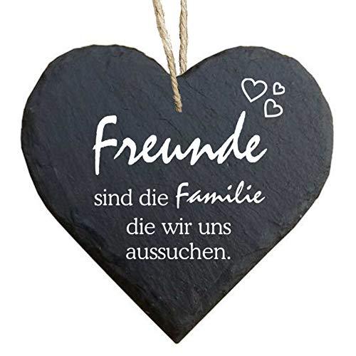 Homeyourself Herz Schieferherz Schiefer Schieferschild 10 x 10 cm Freunde sind die Familie die wir Uns selbst aussuchen schwarz Dekoschild Wandschild Schild Stein Geschenk