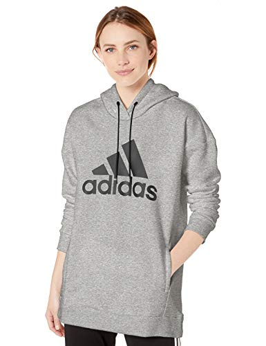 adidas Damen Must Have Badge of Sport Hoodie Sweatshirt, Damen, Kapuzenpullover, Must Haves Badge of Sport Logo Hoodie, Medium Grau meliert, X-Small