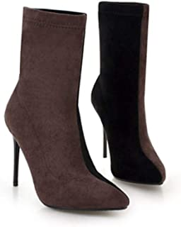 38c0e2a55 Hoxekle Women Winter Mid Calf Boots High Thin Heels Slip on Mixed Colors  Pointed Toe Sexy