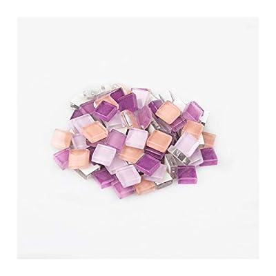 Mosaic Tiles for Crafts 100g (About 100pcs) 1cm Multi Colors Square Glass Tiles for DIY Crafts Supplier Making Tiles Fashion Home Decoration (Color : Purple Mixed, Mosaic Tile Size : 1cm1cm)