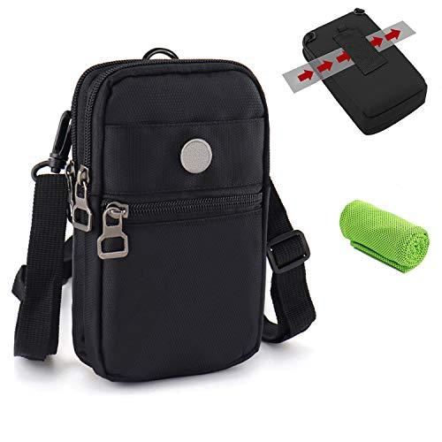 Bandolera Hombre Deportiva Impermeable, Bolsa Compacta de Hombro Cintura Cinturón Bolsillo Funda Riñoneras Bolso Pequeño para Pequeñas Deporte Camping Viaje Cartera Aire para iPhone Samsung Xiaomi