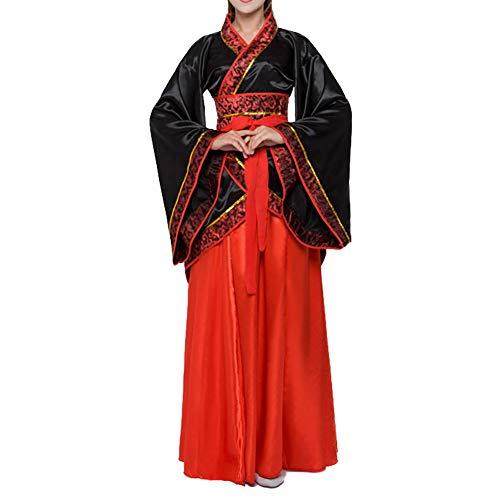 Women's Traditional Chinese Ancient Costume Floral Print Han Dynasty Fairy Asian Princess Hanfu Dress (040-B0# Black, M)