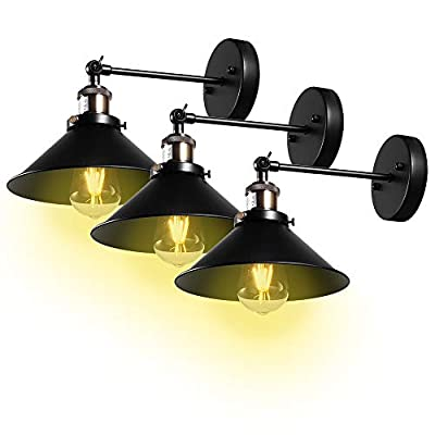 Wall Sconce,Swing Arm Wall Light Fixture, Industrial Vintage 240 Degree Adjustable, Simplicity Bronze and Black Finish Wall Lamp for Bedroom Restaurants Bookcase Doorway (3-Pack,Bulbs not Included)