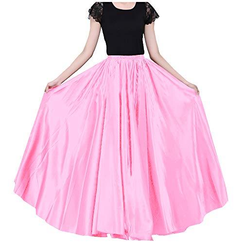 Ladies 90cm Satin Maxi Midi Skirt Long Dress Elastic Waist for Belly Dance Princess Party Cosplay Costume Light Pink