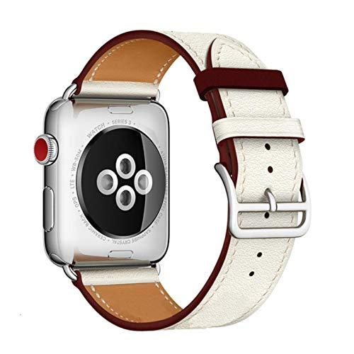 Correa de cuero de vaca para Apple Watch Bandas 42 mm 44 mm Para Iwatch Series 6 5 4 3 2 1 SE Accesorios Bucle 38 mm Reemplazo de pulsera 40 mm-Círculo rojo vino de arroz, 38 o 40 mm