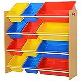 HOMCOM Estantería Organizador para Juguetes Libros Estante de Almacenamiento Habitación Infantil...