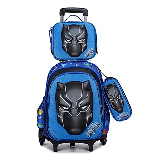 Hflyy Ragazzi Zaini Black Panther Bambini Supereroi Zaini con Ruote Scuola Pranzo Kit Cartella Alunni Casual Zainetto Moda Impermeabile Bookbags,Blue-40 * 32 * 20cm