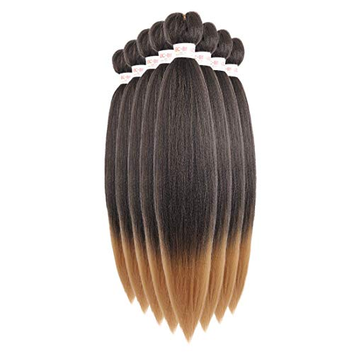 Xpressions Braiding Hair Pre Stretched Easy Braids Synthetic Fiber 8Packs Itch Free Hot Water Setting Yaki Texture Braids Synthetic Braiding Hair Pre-stretched 26 inch (#T1B/27, Black to Strawberry Blonde)
