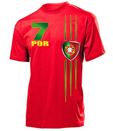 Portugal Fanshirt Fussball Fußball Trikot Look Jersey Herren Männer t Shirt Tshirt t-Shirt Fan Fanartikel Outfit Bekleidung Oberteil Hemd Artikel