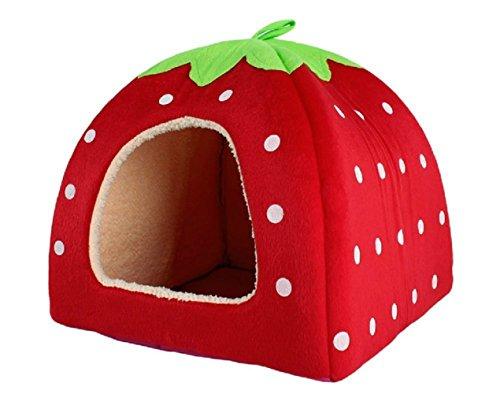 jysport Pet House Lovely Rouge fraise en cachemire chaud Chien Chat Nest Lit pliable
