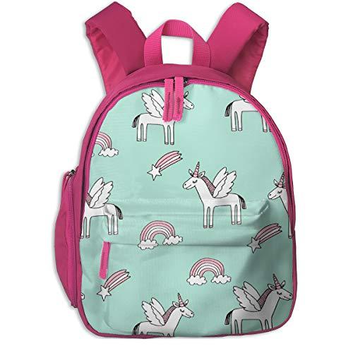 Kinderrucksack für Mädchen, Pegasus Magic Unicorn Sternschnuppen und Regenbogen Kindergarten Stoff Mint Light_3912 - Andrea_Lauren, Für Kinderschulen Oxfordstoff (pink)