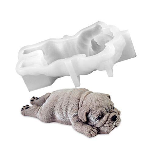Flybloom Niedlichen Hund Silikonform Mousse Kuchen 3D Form EIS Jello Pudding Explosion Kühlwerkzeug Fondant Dekoration (weiß)