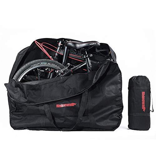 Faltrad Tasche - 600D Oxford Stoff Fahrrad Reisetasche Fahrrad Tragetasche Outdoor 20 Zoll / 26 Zoll Faltrad Aufbewahrungstasche für Transportflüge Auto Zug Reise (Schwarz/20 Zoll)