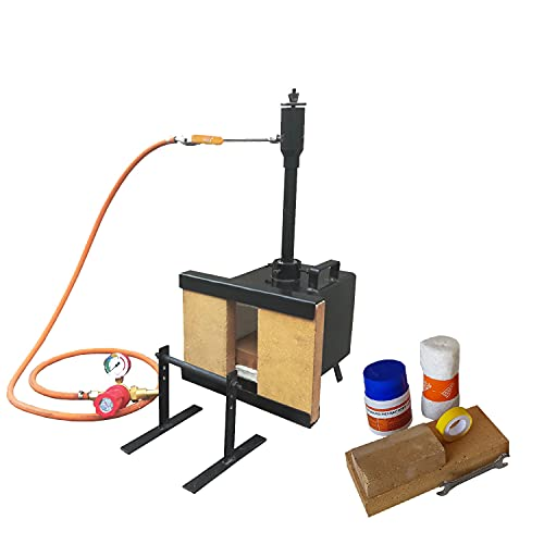 Portable Propane Forge Single Burner with One Side Brick Door, 2600F Rated, Gas Forge for Blacksmithing Tools Equipment Knife Making Farrier - Rectangle Shape Forge