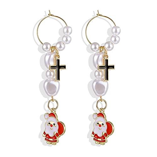 FEARRIN Pendientes Anillos de Moda Adornos navideños Elegante árbol de muñeco de Nieve de Navidad Pendientes Joyas para Regalo H24-ZL878-12