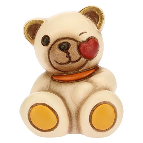 THUN - Teddy Emoticon Bacio - Idea Regalo - Linea Teddy Emoticon - Formato Mini - Ceramica - 3,8x3,6x4,2 h cm