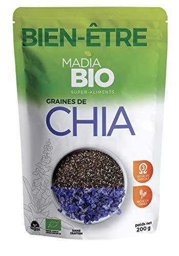 Madiabio - Bien être - Graine de Chia 250 g - BIO - Riche en fibres ; Oméga 3 ; Antioxydant