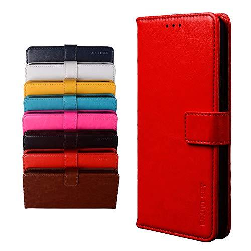 BRAND SET Schutzhülle für TP-Link Neffos X20 Handyhülle Brieftasche Kunstleder mit Magnetverschlussverriegelung & Stent-Funktion Geeignet Flip Handyhülle für TP-Link Neffos X20(Rot)