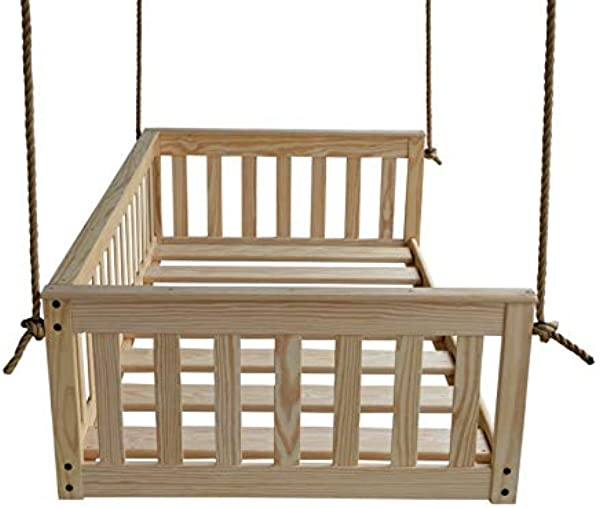 A L Furniture VersaLoft Amish Made Pine Twin Mission Swingbed With Rope Unfinished