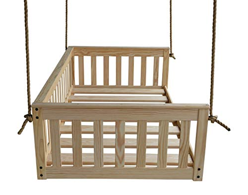 A&L Furniture VersaLoft Amish-Made Pine Twin Mission Swingbed with Rope, Unfinished