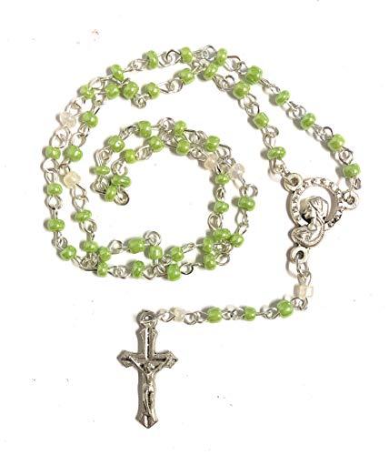 Rosario de cristal verde de 3 mm con caja individual – regalo para primera comunión o confirmación – Pack de 4