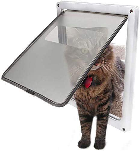 ANQI Puerta de perro automática con cierre magnético para todo tipo de clima, para puerta de perro, puerta de entrada de túnel, pantalla para perro pequeño, mediano y grande, gato, color blanco y XL