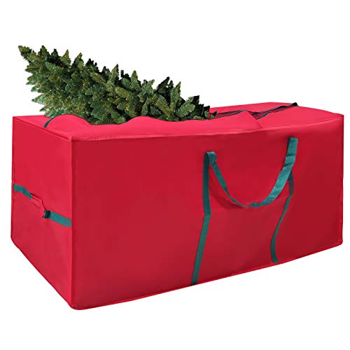 TUIRNMEON Large Christmas Tree Storage Bag, Fits 7.5 Ft Disassembled Tree 50'x20'x15' Waterproof 600D Oxford Zippered Holiday Tree Storage Container Box Tote with Handles(Red)